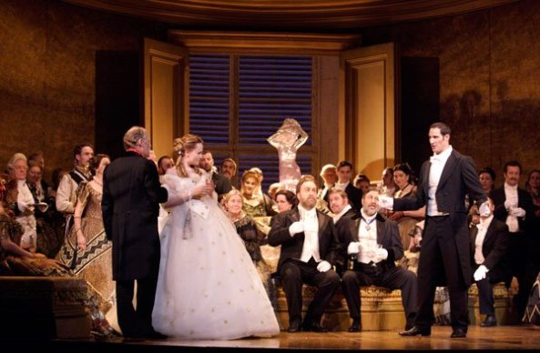 Marina Poplavskaya (Violetta) and James Valenti (Alfredo) in the first cast of 'La Traviata' - October 2011 © Royal Opera House